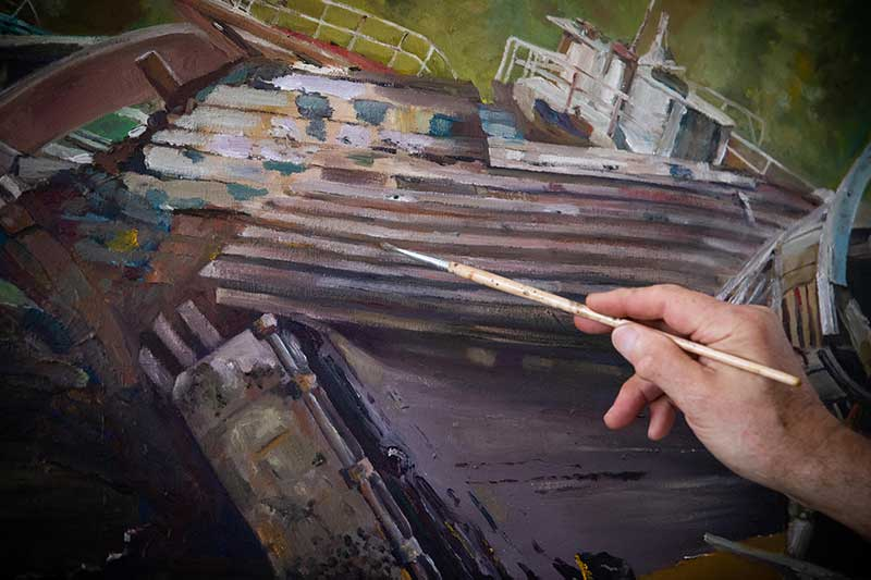 Breton boat cemeteries – painting dead boats